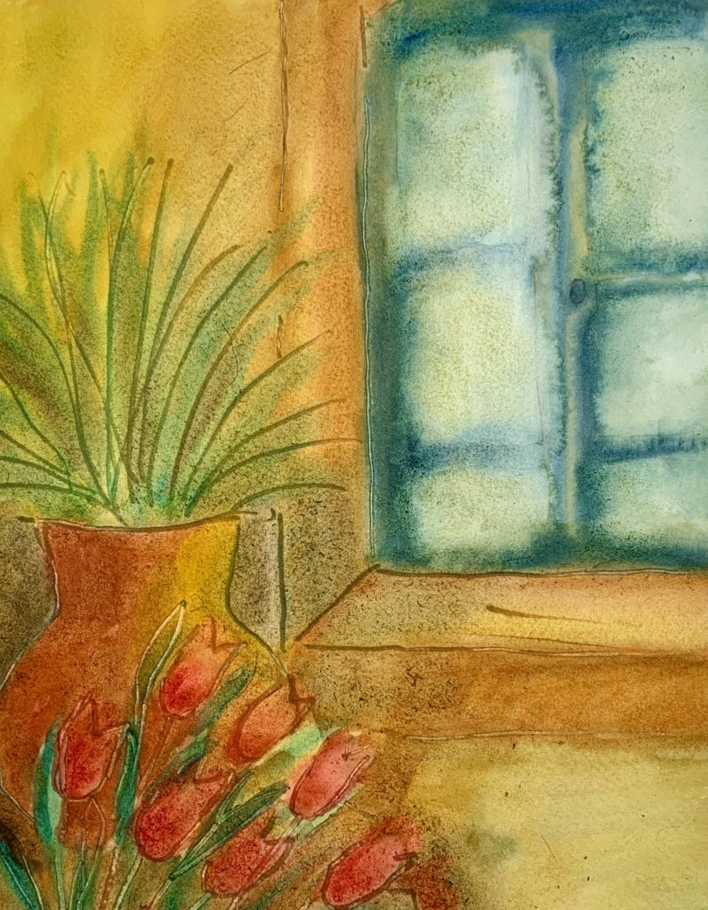 "easywatercolorideas-painting a common scenery. ""By the Door ""watercolor painting."